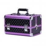 Кейс для визажиста, пластик с алюминием, чёрно-фиолетовый, размер 35Х24Х23см.
