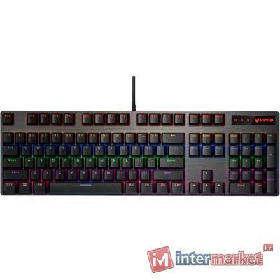 Клавиатура, Rapoo, V500PRO, Игровая, USB, Кол-во стандартных клавиш 104, Длина кабеля 1,8 метра, Анг/Рус/Каз, Чёрный